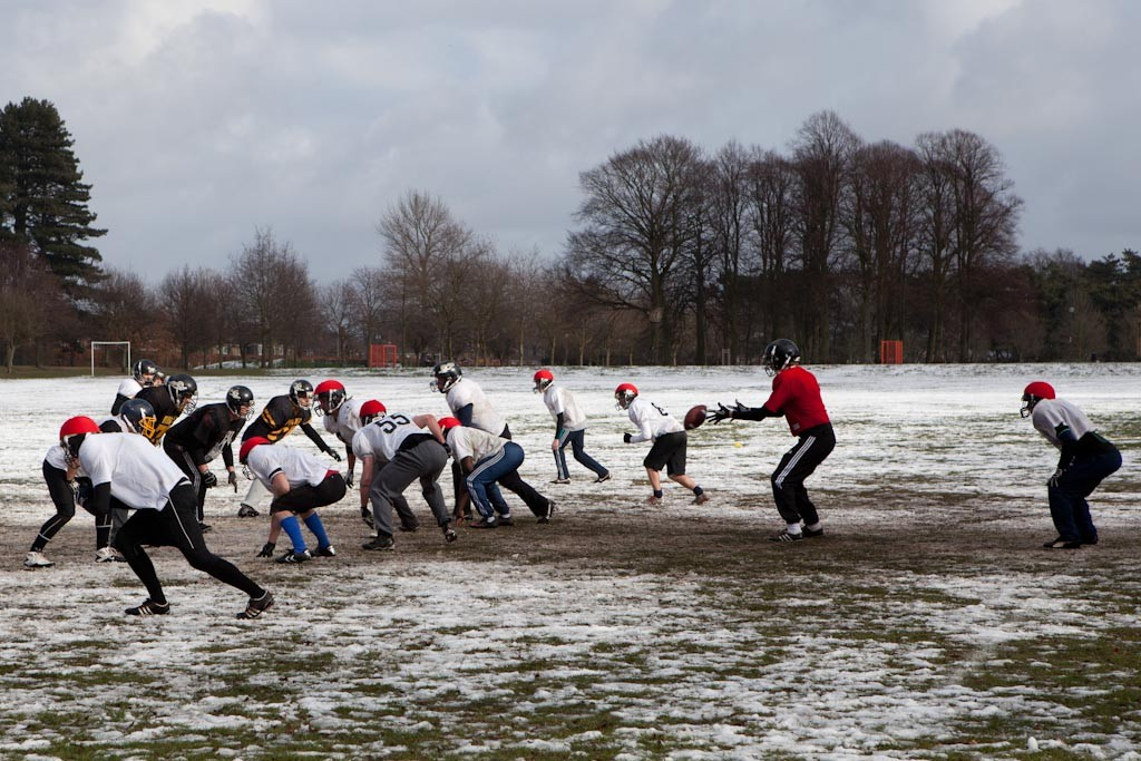 American football in winter